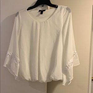 white bell sleeve dress shirt